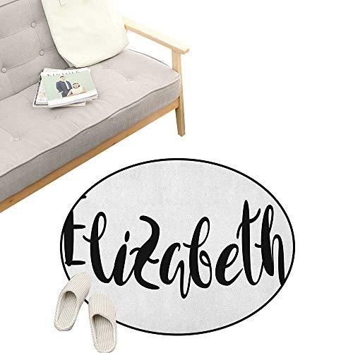 Elizabeth Round Rug ,Monochrome Inscription Style Modern Calligraphy Design Popular Girl Name, Flannel Microfiber Non-Slip Soft Absorbent 39