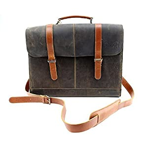 Distressed Designer Brown Messenger Tote Leather Dog Carrier by Midlee