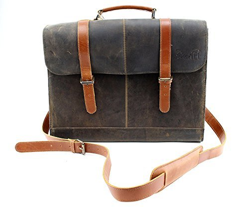 Distressed Designer Brown Messenger Tote Leather Dog Carrier by Midlee