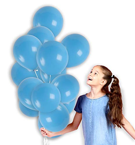 Treasures Gifted 12 Inch Light Blue Solid Latex Balloons Baby Blue Premium Quality Bouquet for Under The Sea Gender Reveal Party Baby Shower Birthday Wedding Bachelorette Supplies (36 Pack) ()