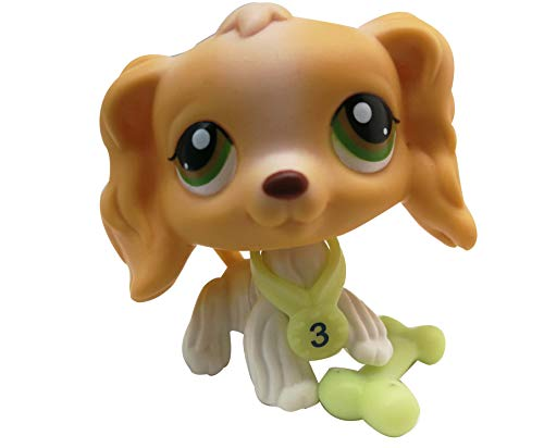 (LPSOLD LPS Cocker Spaniel 79 Tan White Green Eyes Dog Puppy with Accessories Action Cartoon Figure Collection Boy Girl Kid Gift (LPS)