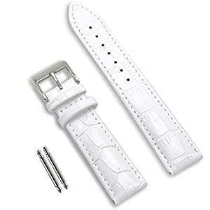 Calfskin Replacement Leather Watch Bands with Deployment Buckle Watch Strap Sliver Watch Clasp Buckle for Men and Women