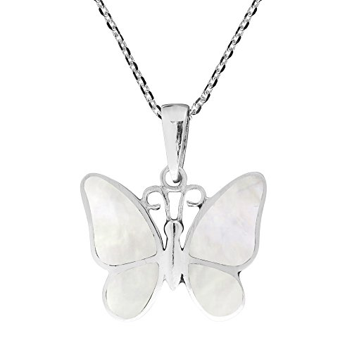 (AeraVida Tropical Soul Butterfly Inlaid White Mother of Pearl .925 Sterling Silver Pendant Necklace)