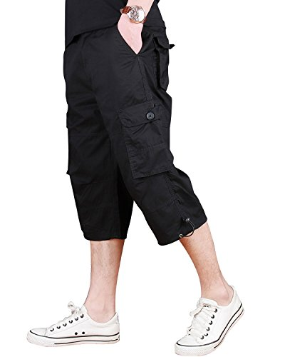 CRYSULLY Men's Stylish Multi Pocket Climbing Shorts Trekking Shorts Hiking Sportswear Travelling Cargo Shorts Black