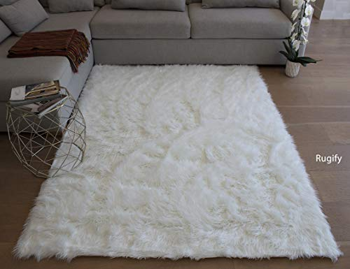 Furry Fluffy Fuzzy Soft Solid Faux Fur Sheepskin Lambskin Sheep Hide Animal Skin Livingroom Bedroom Nursery Room Floor Rug Carpet Area Rug Indoor Pure White 6x9 Large ( Fur Shaggy Pure White )
