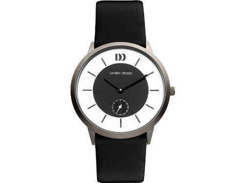 Danish Design Iq13q958 Titanium Case Black Silver Dial Leather Band Mens Watch