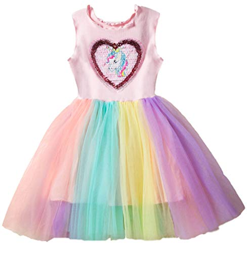 Toddler Girls Sequin Mesh Tulle Dress Unicorn Sleeveless Cotton Princess Dresses Party Colorful Lace Clothes ()