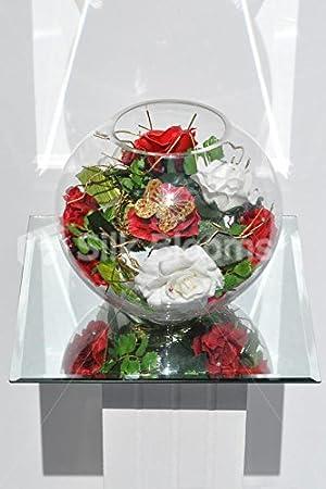 Navidad inspirado en rojo y blanco fresco Touch rosa arreglo Floral en pecera jarrón: Amazon.es: Hogar
