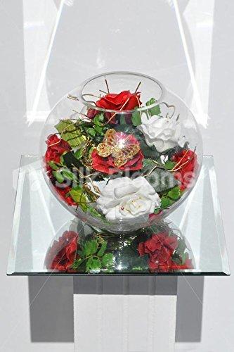 Navidad inspirado en rojo y blanco fresco Touch rosa arreglo Floral en pecera jarrón