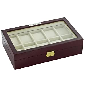 Diplomat 31-57614 Cherry Wood Finish with Clear Top and Cream Leather Interior 10 Watch Storage Case