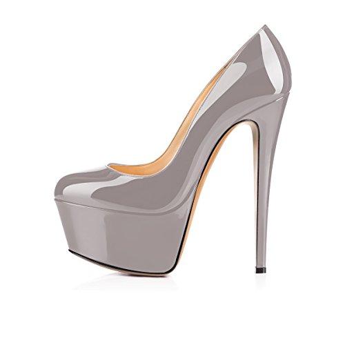 elashe Femmes - Escarpins - Semelle Compensée 5 cm - Talon Aiguille 15CM - Bout Rond Fermé - Plateformes Talons Chaussures Gris 84nxFd3