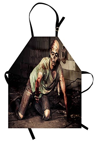 Ambesonne Zombie Apron, Halloween Scary Dead Man in The Old Building with Bloody Head Nightmare Theme, Unisex Kitchen Bib Apron with Adjustable Neck for Cooking Baking Gardening, Grey Mint Peach