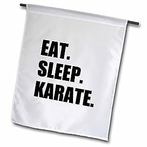 3dRose fl _ 180415_ 1comer dormir karate-martial arte entusiasta gift-black texto tipografía jardín bandera, 12por 45,72cm