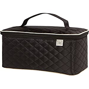 Ellis James Designs Large Travel Makeup Bag Organizer, Cosmetic Train Case Bag Toiletry Organizer (Black) with Handle & Makeup Brush Holders - Multifunctional for Professional Hair & Beauty Storage