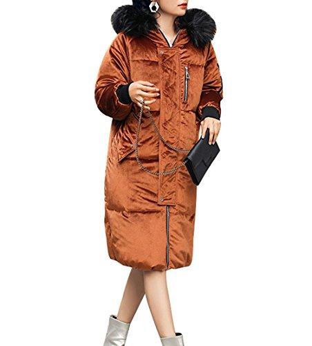 Casual BROWN Down Snow Color Coat Hooded Jacket Fur Warm Artificial Pocket Long Coat Zipper Jacket Solid Winter Women'S XL Cotton EECxUAqw