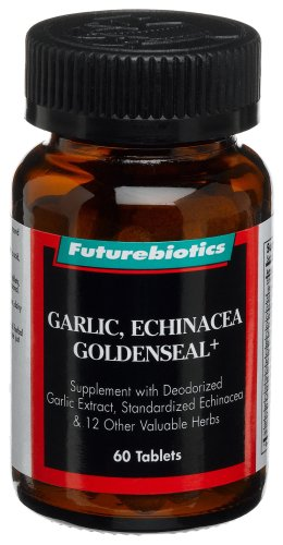 Futurebiotics Garlic, Echinacea Goldenseal+, Supplement with Deodorized Garlic Extract, Standardized Echinacea, 60 tablets (Pack of 2) - Futurebiotics Garlic Echinacea