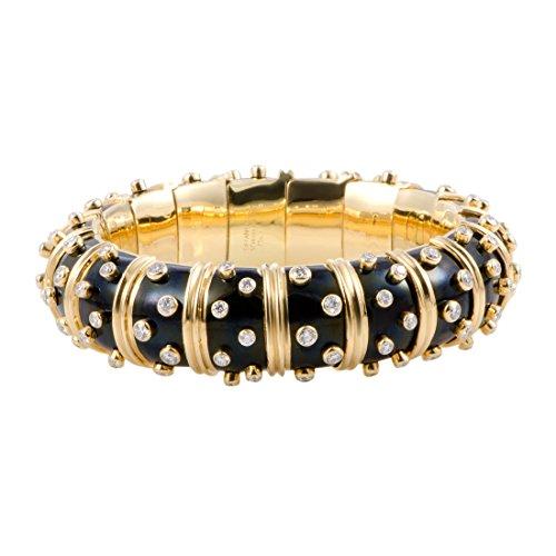 T&Co.-Schlumberger Tiffany & Co. Schlumberger 18K Yellow Gold Diamond and Onyx Bombe Bangle (Tiffany Diamond Bracelet)