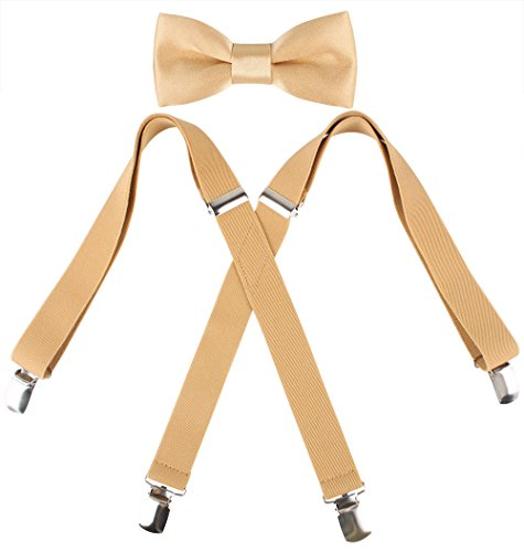 Kat Cheung Bahar 2PCS Bow Tie And Suspenders Set For Kids Boys 4 Clips Adjustable and Elastic Braces X Shape (Gold) -