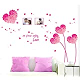 """BIBITIME """"At first sight Love"""" Valentines Day Photo Frame Wall Stickers Couple Lovers Bedroom Heart Flower Picture Frame Vinyl Decal for Living Room (DIY Size approx:49.21""""x37.79"""", Pink)"""