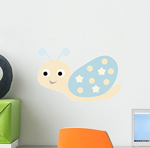Cute Cartoon Snail with Wall Decal Wallmonkeys Peel and Stick Graphic (12 in W x 8 in H) WM350005 (Shell Horizontal Wall)