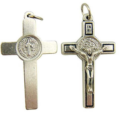 Religious Gifts Silver Tone Saint St Benedict Cross Crucifix Pendant, 1 1/2 Inch
