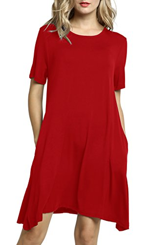 Afibi Women's Casual Loose Pockets Dress Casual Swing T-Shirt Dresses (Small, Red) ()