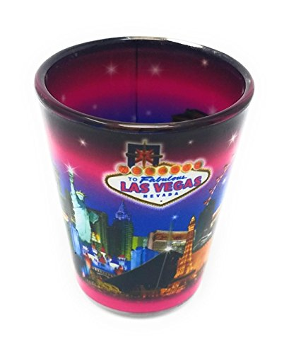 Las Vegas Strip Shot Glass - Pink Background with Stars (#8900757) (2)