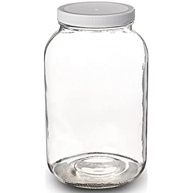 Paksh Novelty Wide Mouth 1 Gallon Clear Glass Jar + Plastic Lid With Airtight Liner Seal for Fermenting Kombucha / Kefir, Storing and Canning / USDA Approved, Dishwasher Safe