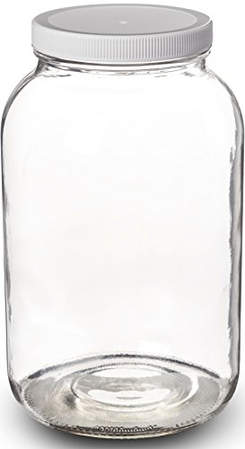 Paksh Novelty 1-Gallon Glass Jar Wide Mouth with Airtight Plastic Lid - USDA Approved BPA-Free Dishwasher Safe Mason Jar for Fermenting, Kombucha, Kefir, Storing and Canning Uses, - Mason Jar 1gallon Ball