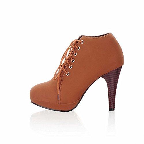 Stivaletti Alti Alla Caviglia Con Tacco Alto Alla Caviglia Moda Donna Latasano Marrone Chiaro