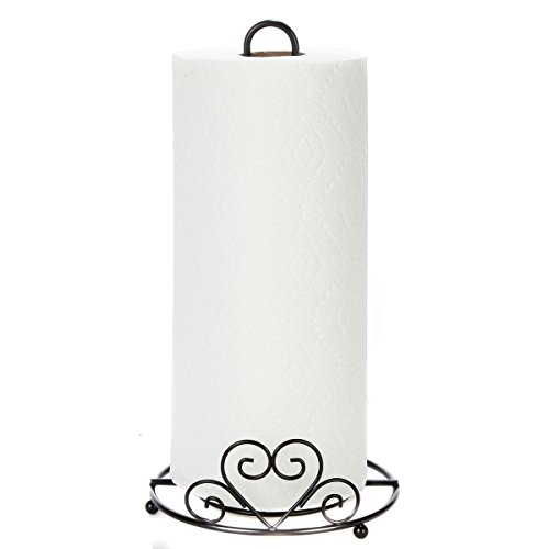 Trenton Gifts Metal Paper Towel Holder With Scrolled Heart Design | 12.5