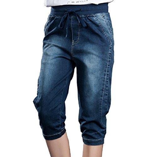 Bestor Mode Plus Size Denim Jeans Corsaires stretch Skinny Jeans Pantalons pour femmes avec Cordon de serrage taille blue