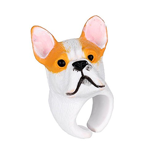 Winter's Secret Yellow Dog Lovely Three-dimensional Small Animal Ring Middle Thumb Finger Jewelry (Madame Butterfly Setting)
