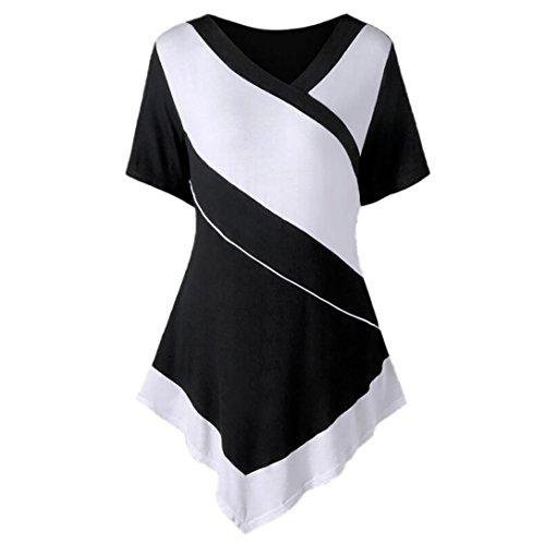 Minisoya Plus Size Women Short Sleeve Handkerchief Tunic Blouse Color Block Patchwork T-Shirt Casual Asymmetric Tops (Black, XL)