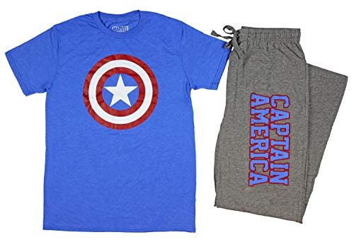 Marvel Captain America Men's Shield Logo Shirt and Sleep Pants Set (X-Large) Blue