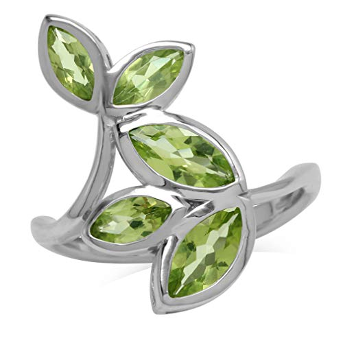 2.67ct. Natural Marquise Shape Peridot 925 Sterling Silver Bypass Leaf Ring Size 8