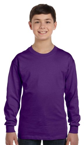 Boys Long Sleeve Crewneck T-shirt (Gildan Big Boys' Seamless Crewneck Long Sleeve T-Shirt, X-Small, Purple)