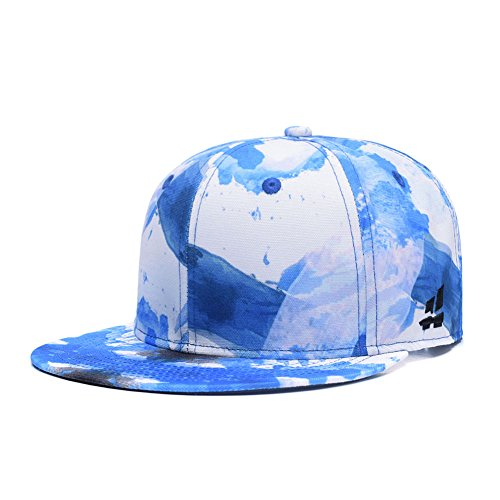 Quanhaigou Graffiti Sky Blue White Adjustable Baseball Cap,Unisex Hip Hop Snapback Flat Bill Hat Bill Adjustable Baseball Hat
