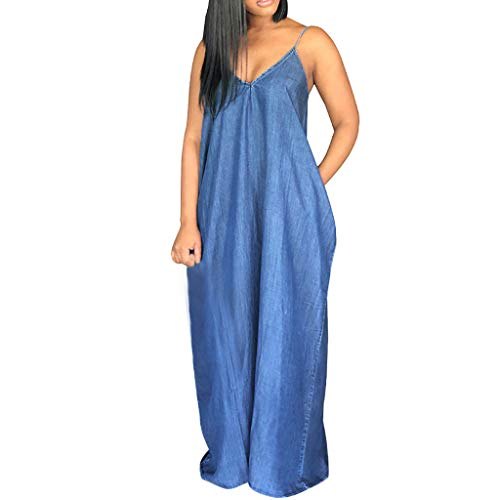 PENGYGY Women Plus Size Dress Fashion Soild Skirt Ladies Backless V-Neck Sleeveless Beach Long Dress Blue]()