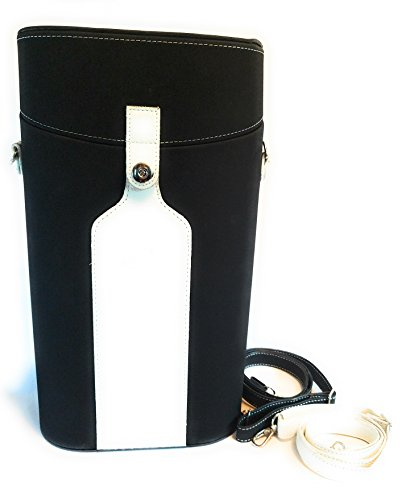 Wine carrier set for two bottles with corkscrew, pourer / stopper, and gel chiller sleeve to keep your favorite wine cool and fresh while at parties, picnics, barbecues and beach.