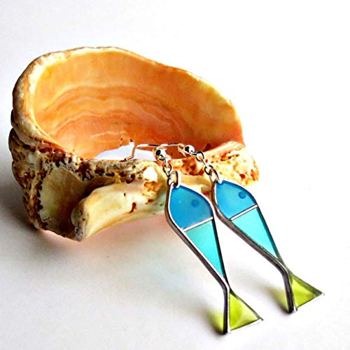 (Turquoise Fish Earrings Sterling Silver Funny Jewelry)