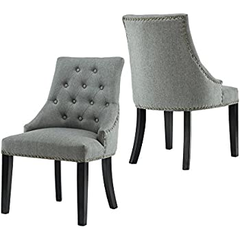 lssbought set of 2 fabric dining chairs leisure padded chairs with black solid wooden legs