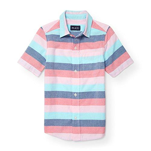 The Children's Place Big Boys' Short Sleeve Stripe Oxford Woven, Astilbe 88262, M (7/8) Boys Stripe Oxford