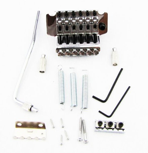 Musiclily Floyd Rose Lic Double Locking Tremolo Guitar Bridge Assembly System Electric Guitar Parts, Chrome - Floyd Rose Locking Tremolo