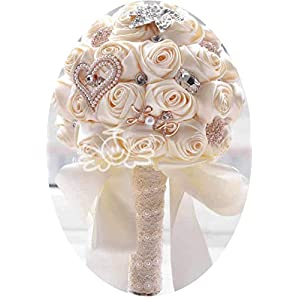 mamamoo in Stock Stunning Wedding Flowers White Bridesmaid Bridal Bouquets Artificial Rose Wedding Bouquet,Cream 97