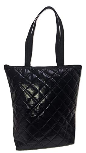 (LeSportsac Black Quilted Crinkle Patent Daily Tote, Style 2432/Color H026)