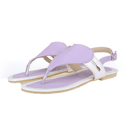 Low AalarDom Womens Solid PU Purple Heels Sandals Split Toe qw4wTt