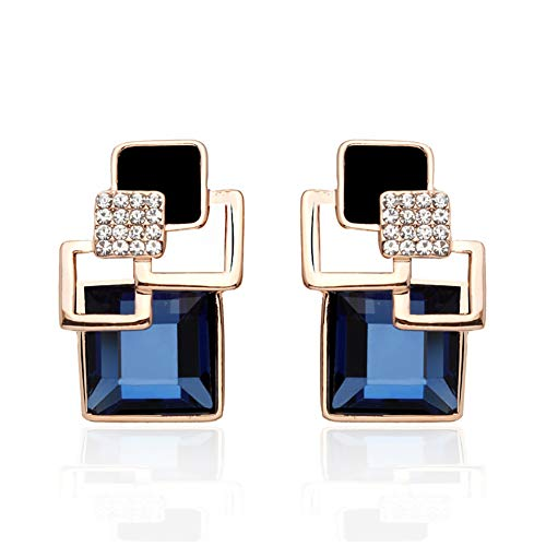 Gusii Lake Tahoe Sapphire Aquamarine Crystal Earrings,Incorporate Love Into The Crystal, Blending Emotion Into The Gemstone,Giving You a Unique and Luxurious Look