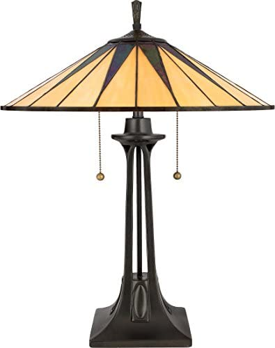 Quoizel TF6668VB Gotham Tiffany Table Lamp, 2-Light, 150 Watts, Vintage Bronze 25 H x 19 W