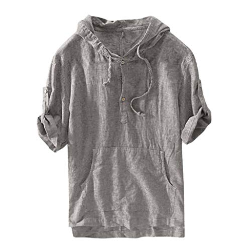 Mens Cotton Linen Tops Xlala Summer Short Sleeve Loose Tees Solid Color Hooded Tops Retro T Shirts Simple Pullover Dark Gray